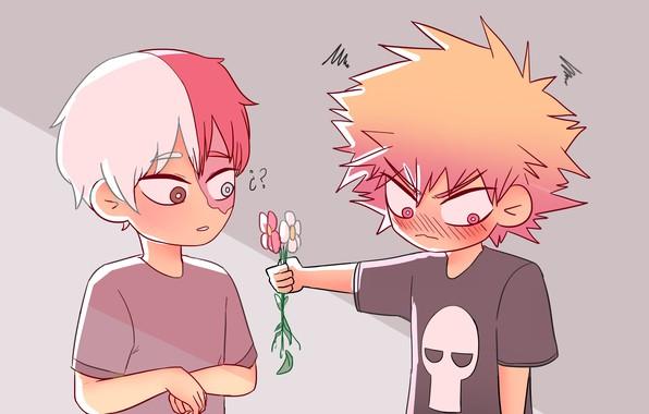 Picture art, flowers, boys, Boku no Hero Academy, Shoto, My heroic academia, Bakuga