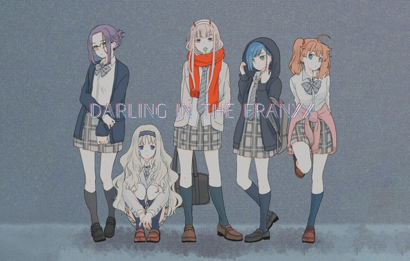 Picture girls, anime, grey background, Darling in the frankxx
