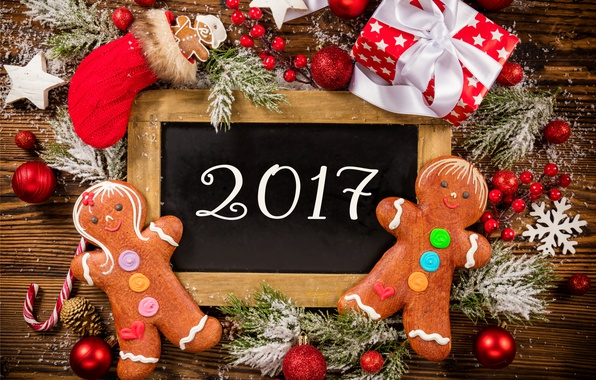 Picture New Year, Christmas, christmas, balls, merry christmas, gift, decoration, xmas, gingerbread, 2017