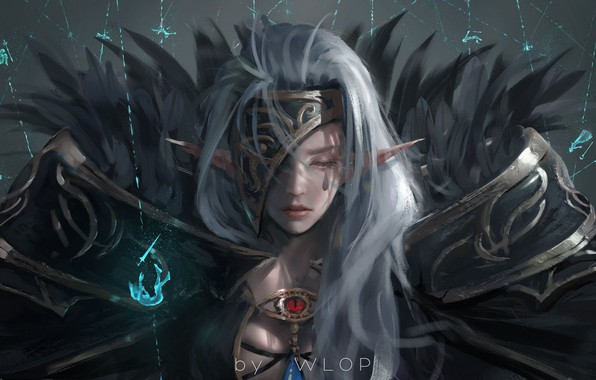 Picture girl, magic, elf, anime, warrior, armor, dungeon and fighter, wlop