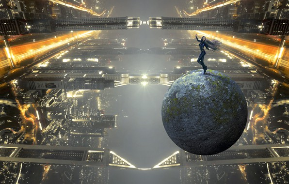 Picture girl, light, flight, night, the city, lights, pose, fog, future, fiction, building, planet, ball, height, …