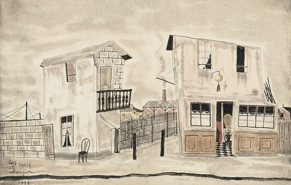 Picture road, wall, home, chair, 1931, Tsuguharu Foujita, Street scene in Paris