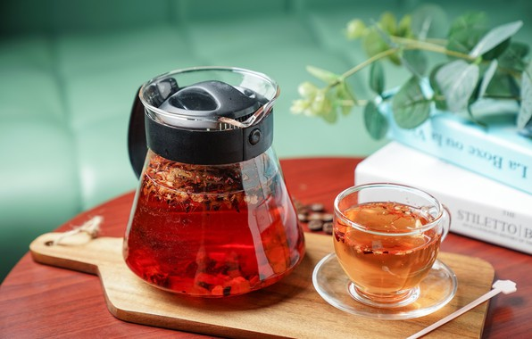 Picture tea, Cup, drink, teapot, cutting Board