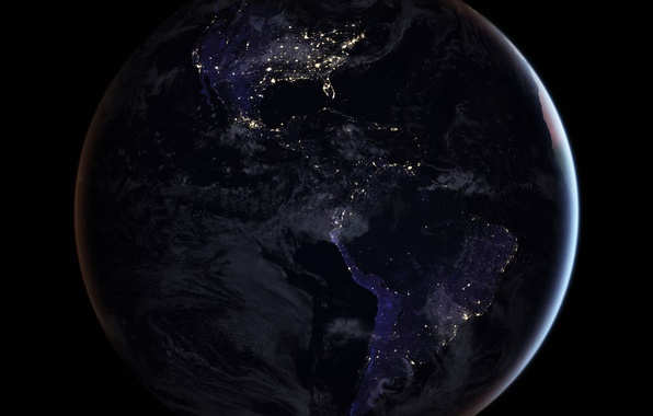 Picture lights, planet, Earth, mainland, South America, North America