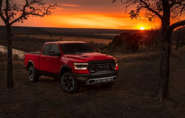 wallpaper sunset  dodge  pickup  1500  ram  2019  rebel quad cab images for desktop  section