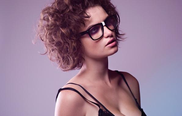 Picture girl, hair, portrait, glasses, curls, short hair