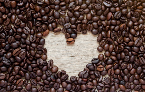 Picture love, heart, coffee, grain, love, heart, romantic, beans, coffee