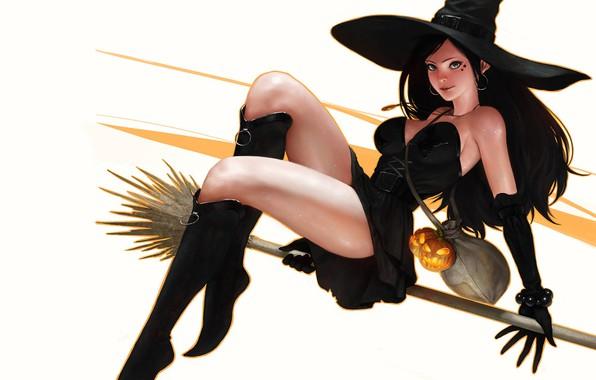 Picture hat, fantasy, art, pumpkin, flight, witch, broom, SYAR ., Witch★, Digital Artist