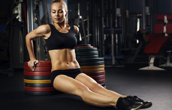 Photo wallpaper blonde, pose, workout, fitness