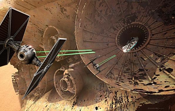 Picture cinema, Star Wars, space, war, movie, film, Millennium Falcon, combat, TIE Fighter