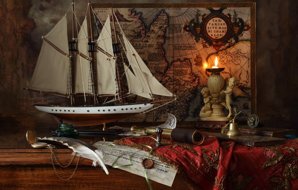 Picture pen, model, ship, map, candle, pipe, still life, wax, Andrey Morozov, Andrey Morozov