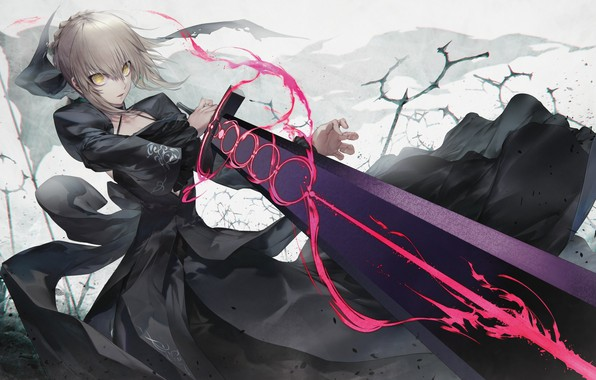 Picture girl, sword, anime, art, fate grand order, the saber