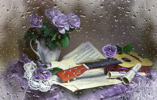 Picture notes, guitar, roses, still life