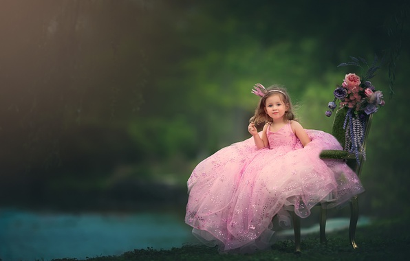 Picture flowers, chair, crown, dress, girl, little Princess