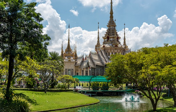 Picture greens, the sky, grass, the sun, clouds, trees, flowers, pond, Park, lawn, Thailand, temple, Palace, …