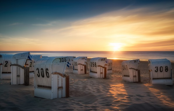 Picture beach, coast, Germany, Germany, sun loungers, Lower Saxony, Spiekeroog
