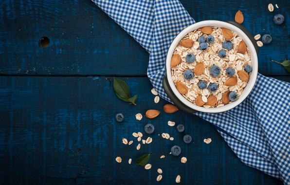 Picture berries, Breakfast, blueberries, nuts, almonds, breakfast, cereal
