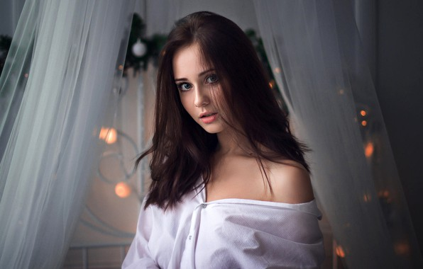 Photo wallpaper look, portrait, makeup, hairstyle, brown hair, beauty, in white, Ivan Shcheglov