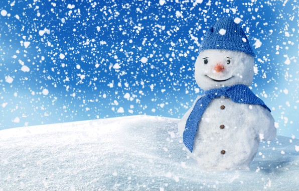 Picture winter, snow, snowman, happy, smile, winter, snow, snowman