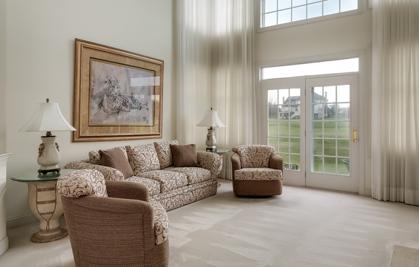 Picture sofa, window, curtains, living room