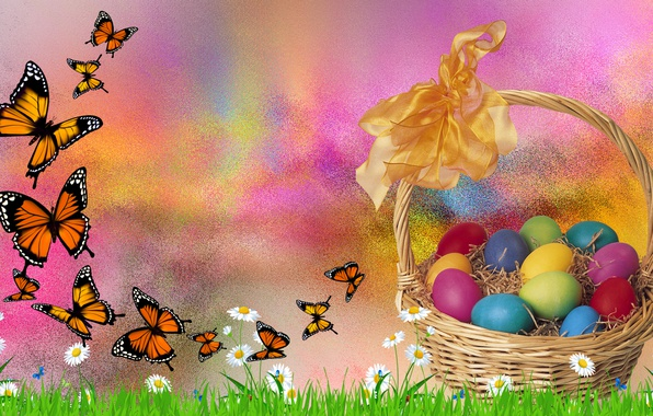 Picture BUTTERFLY, EASTER, EGGS, THE WALLPAPERS