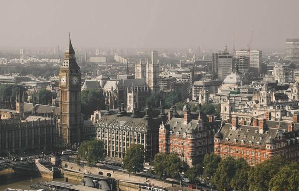 Picture bridge, city, the city, retro, river, transport, street, view, England, London, panorama, UK, Thames, architecture, …
