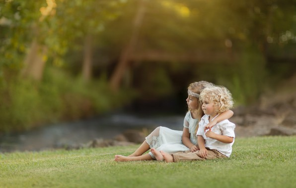 Picture nature, children, boy, hugs, girl, a couple, curls, lawn, Kevin Cook