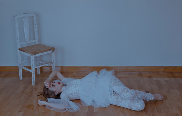 Picture girl, pose, mood, the situation, dress, chair, on the floor