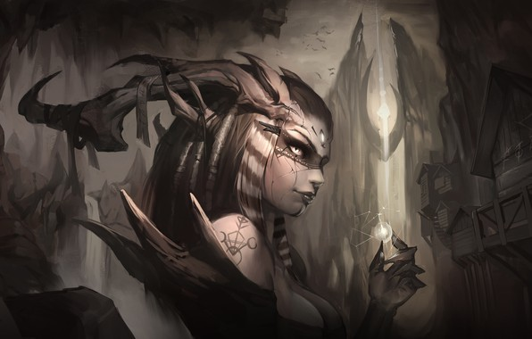 Picture look, magic, fantasy, art, horns, demoness