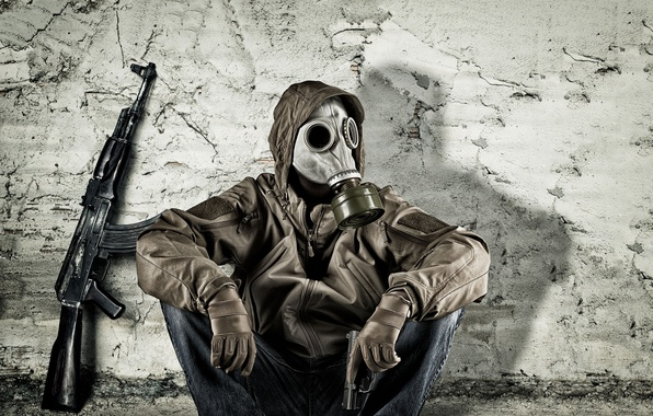 Picture gun, wall, clothing, gas mask, male, sitting, Kalash