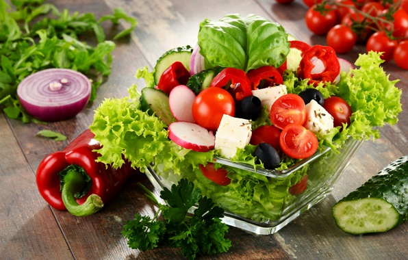 Picture pepper, vegetables, tomato, salad, radishes, cheese