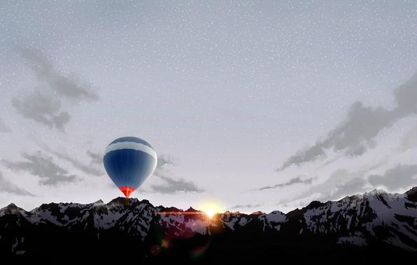 Picture mountains, balloon, dawn