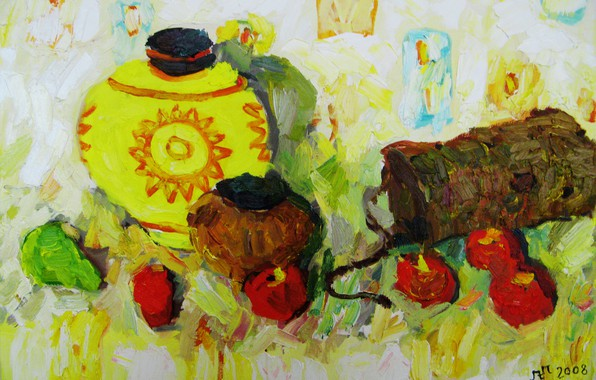 Picture apples, 2008, pear, pitcher, still life, bucket, The petyaev