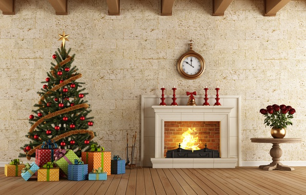 Picture rendering, roses, Watch, New Year, Board, Tree, Fireplace, Interior, Gifts