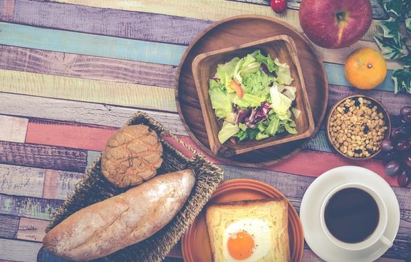 Picture coffee, Apple, Breakfast, bread, grapes, scrambled eggs, salad, Mandarin, toast