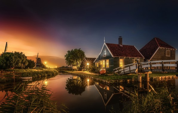 Picture light, the city, the evening, channel, houses, Netherlands, the bridge