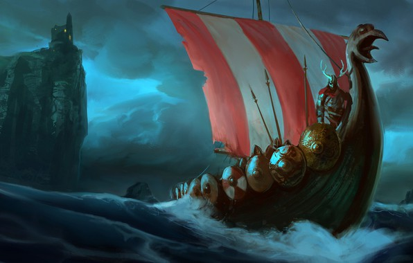Picture waves, fantasy, tower, horns, sea, fortress, castle, weapons, ship, digital art, artwork, warrior, fantasy art, ...