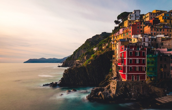 Photo wallpaper sea, Italy, dusk, Riomaggiore, Liguria, cliff