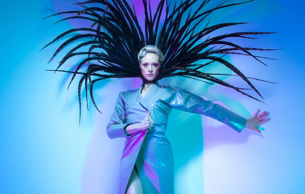 Picture pose, background, feathers, makeup, actress, hairstyle, outfit, Paper, cloak, photoshoot, British, Gwendoline Christie, 2016, Charlotte …