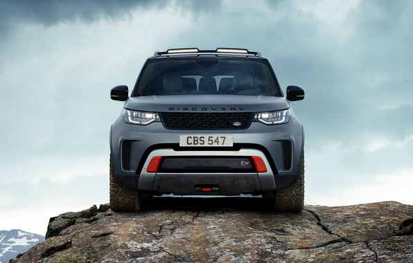 Picture the sky, clouds, rock, grey, SUV, Land Rover, Discovery, 4x4, 2017, V8, SVX, 525 HP