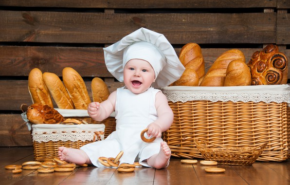Picture baby, bread, outfit, cook, bagels