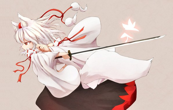 Picture katana, tail, grey background, priestess, wolf, ears, art, Touhou Project, Project East, Momiji Inubashiri, Denak
