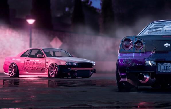 Picture Pink, Nissan, Drift, Car, Purple, Skyline, R34