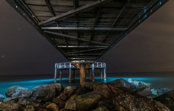 Picture sea, night, bridge, shore