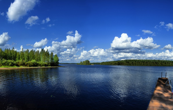 Picture boat, Nature, Canada, panorama, Nature, Canada, Quiet lake, Lake Kvayet