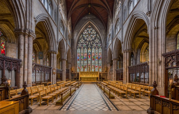 Photo wallpaper North Yorkshire, Ripon Cathedral, Choir, Diliff, interior, UK