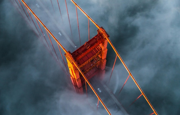Photo wallpaper USA, the Golden gate bridge, fog