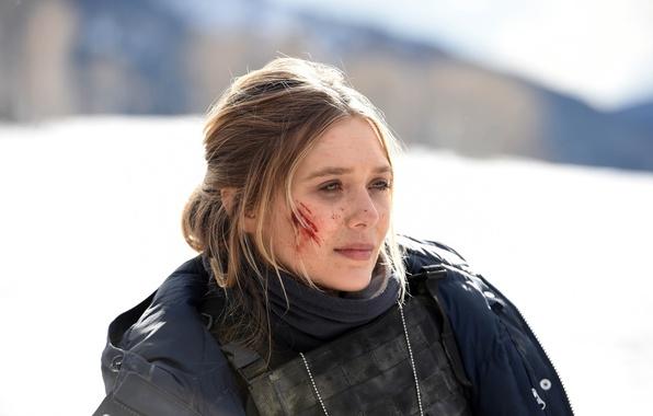Picture cinema, girl, blood, police, snow, movie, blonde, film, bulletproof vest, Elizabeth Olsen, Wind River