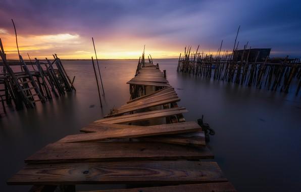 Photo wallpaper sea, Board, pier, calm