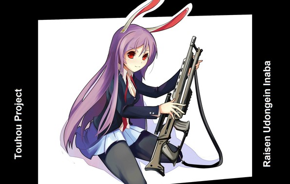 Picture red eyes, rifle, eared, Touhou Project, Project East, Traveling And Keeping Inaba, The moon rabbit